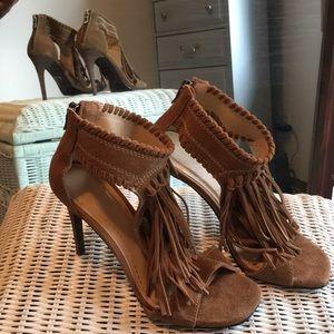 Fringe suede heels